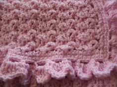 Crocheted Baby Blanket in Soft Pink with Shell by Bonnie1025, $29.00