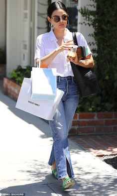 Lucy Hale is summertime chic in breezy top and flared denim as she hits the streets of LA to shop Lucy Hale Outfits, Lucy Hale Style, Western Wear, Outfits For Teens, Casual Looks, Boho Chic, Girl Fashion, Street Style, Style Inspiration
