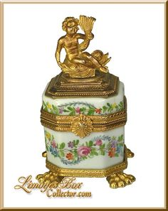 Antique Museum Quality Inkwell with Cherub Ormolu Limoges Box