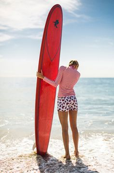 The Kate Gibbs girl is at home at the beach. If she is not from there originally, she can make herself perfectly comfortable, with or sans long board.