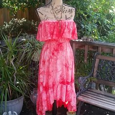 NWOT, coral/orange summer dress. Gauzy, feminine summer beauty.  Tye-dye, high-low hemline.  Could be used as a bathing suit cover as well.  No lining, so you would have to wear a slip. Depending on the type of shoes you could dress it up or down.  NWOT,  I love it but I have WAY to many clothes.?????? Angie Dresses High Low