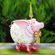 Nanette Dressed Up Pig Ornament