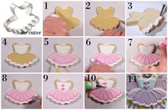Flour Box Bakery — How to Decorate a Ballerina Tutu Cookie Fancy Cookies, Iced Cookies, Cut Out Cookies, Cute Cookies, Cupcake Cookies, Cookies Et Biscuits, Sugar Cookies, Iced Biscuits, Cookie Favors