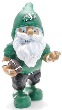 My mom has a rider nome, not as cute as this one though! Bring Em Out, Go Rider, Saskatchewan Roughriders, Grey Cup, Rough Riders, Faeries, Gnomes, Funny Photos, Green Colors