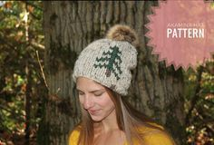 Akamina Hat Pattern // Tree Hat Pattern // Slouchy Knit Hat