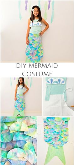 DIY Mermaid Costume Made With Coffee Filters. Pretty mermaid costume for kids. Homemade Mermaid Costumes, Mermaid Costume Kids, Mermaid Halloween Costumes, Mermaid Kids, Mermaid Crafts, Mermaid Outfit, Homemade Costumes, Diy Costumes, Costume Ideas