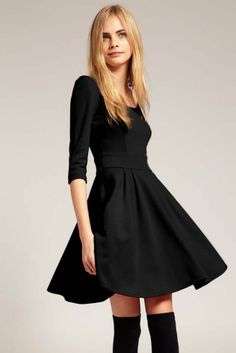 Black Ponte Fit and Flare Dress