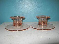 Depression Era Style Pink Glass Candle Holders, Home Decor, Vintage Glass by Junkblossoms on Etsy