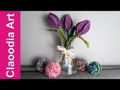 Tulipany z papierowej wikliny (tulips, paper wicker, DIY) - YouTube