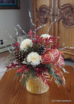 10 best christmas silk flower arrangements images silk floral rh pinterest com christmas artificial flower arrangements in vases christmas fake flower arrangements