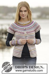 "Sweet As Candy Short Sleeve - Knitted DROPS jacket with short sleeves with round yoke and multi-colored pattern in border in ""Karisma"". - Free pattern by DROPS Design Fair Isle Knitting Patterns, Fair Isle Pattern, Sweater Knitting Patterns, Free Knitting, Crochet Patterns, Drops Design, Norwegian Knitting, Magazine Drops, How To Purl Knit"