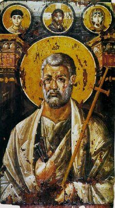 St Peter encaustic on panel, c. 6th century (Saint Catherine's Monastery, Mount Sinai).