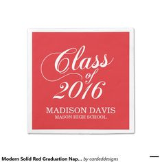 Modern Solid Red Graduation Napkins Standard Cocktail Napkin