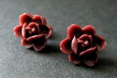 Maroon Lotus Rose Earrings. Bronze Post Earrings. Lotus Flower Earrings. Burgundy Flower Earrings. Maroon Earrings. Handmade Jewelry by StumblingOnSainthood from Stumbling On Sainthood. Find it now at http://ift.tt/1SjMu52!