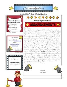 Here is the newsletter I use for the ACT Binder.  You should be able to edit this file as needed.  It includes graphics and text to give you ideas on how you want to make this Hollywood themed newsletter your own :)