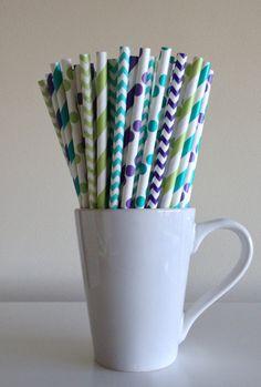 Paper Straws - 25 Purple, Light Green, Teal Striped, Chevron, Polka Dot Party Straws Peacock Monsters Inc Birthday Wedding Baby Shower Mix