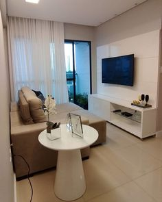 Best home theater planejado minimalista Ideas Living Room Sets, Living Room Bedroom, Living Room Designs, Living Room Decor, Small Rooms, Small Apartments, Decoration Inspiration, Trendy Home, Style At Home