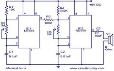 Electronics Basics, Electronics Projects, Musical Horns, Simple Arduino Projects, Simple Circuit, Electrical Projects, Electronic Engineering, Circuit Diagram, Sound Effects