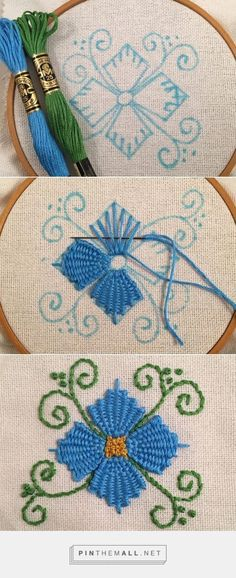 Wonderful Ribbon Embroidery Flowers by Hand Ideas. Enchanting Ribbon Embroidery Flowers by Hand Ideas. Embroidery Stitches Tutorial, Embroidery Flowers Pattern, Simple Embroidery, Silk Ribbon Embroidery, Hand Embroidery Designs, Embroidery Techniques, Embroidery Thread, Cross Stitch Embroidery, Machine Embroidery
