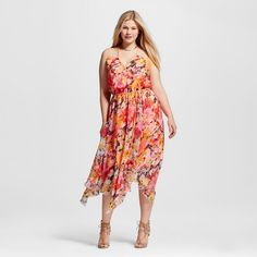 Women's Plus Size Printed Floral Maxi Dress Multi-Colored