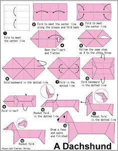Finally! pattern for origami dachshund. DIY Christmas ornaments! origami, paper making, paper folding, japanese origami, diy, craft, creative                                                                                                                                                      More