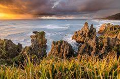 Punakaiki Beach at Sunset, West Coast, South Island. New Zealand
