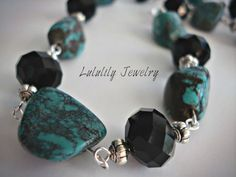 Turquoise Beaded Necklace. Handmade Jewelry by LuluLilyJewelry