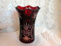 Ruby Cut to Clear Bohemian Czech Vase by VintageLoversShop on Etsy