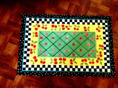 Hand painted floorcloth rug with Cherries & Checks...