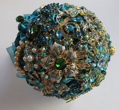 Teal Blue Peacock Blue , Emerald Green  Brooch Bouquet  Extra Large on Etsy, $486.38 CAD