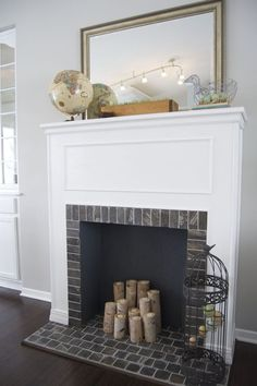 How To Build a Faux Fireplace. Doin this if I can't find a house with a fireplace Faux fireplace diy fireplace candles fake Faux Fireplace Mantels, Modern Fireplace, Fireplace Surrounds, Fireplace Ideas, Mantles, Fireplaces, Fireplace Design, Fireplace Mirror, Fireplace Remodel
