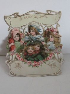 "DIE CUT ANTIQUE VALENTINE ""5 Beautiful Children"" - c. 1..."