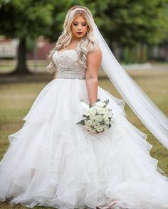 """Strapless empire waist plus size wedding gowns """"This beaded plus size wedding gown has a beautiful ball gown ruffled skirt. Plus Size Brides, Plus Size Wedding Gowns, Gorgeous Wedding Dress, Beautiful Bride, Gown Wedding, Beige Wedding Dress, Dream Wedding, Tulle Wedding, Luxury Wedding"""