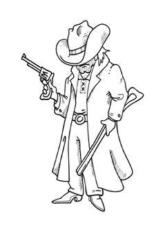 Cowboy Party, Lee Van Cleef, Langer Mantel, Digi Stamps, Gift Tags, Coloring Pages, Stencils, Doodles, Sketches