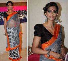 Love the color combination and love the blouse's neckline (Masaba)