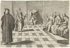 Christiaan Hagen | Interieur met geestelijken, Christiaan Hagen, c. 1663 - 1695 | Een interieur met rechts drie figuren op een verhoging, waaronder een vrouw die omhoog wijst. Links staat een man met een boek en achter hem een bisschop, voorstellende Augustinus van Hippo, met tiara, staf en in zijn linkerhand een brandend hart. Achterin een knielende vrouw bij een biechtvader.