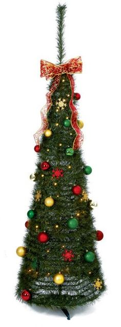 Premier 1.8m Red and Gold Pop Up Christmas Tree with LED Lights
