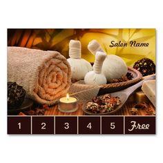 Customizable Massage Salon Loyalty Punch Card Business Cards