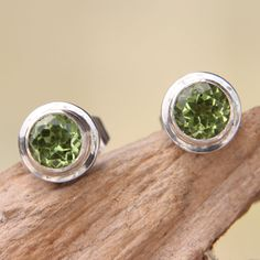 Peridot+stud+earrings,+'Green+Simplicity'+at+The+Rainforest+Site