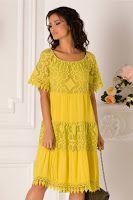 rochie-de-vara-2019-13 Short Sleeve Dresses, Dresses With Sleeves, Summer Dresses, Floral, Fashion, Moda, Sleeve Dresses, Sundresses, La Mode