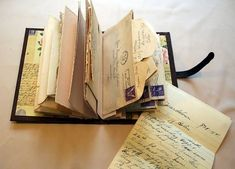 Bind Letters into a Book; great ideas on ways to use old books (old letters… scrapbook in a special book keepsakes / memory books DIY