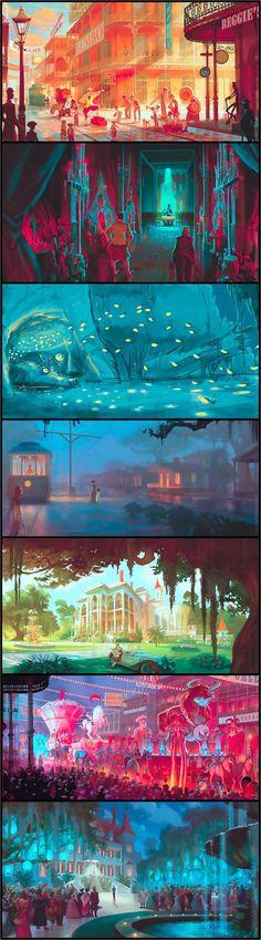 The Princess and the Frog- Concept Art ColorScript Animation Movie Inspiration Illustration Painting Environment Concept, Environment Design, Color Script, Arte Sketchbook, Disney Concept Art, Game Concept Art, Animation Background, City Background, Disney Kunst