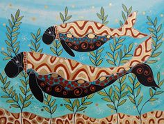 Melanie Hava Australian Artist Aboriginal Culture, Aboriginal People, Aboriginal Art, Tribal Animals, Insect Art, Manatee, Indigenous Art, Acrylic Canvas, Painting Videos