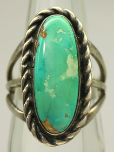 Navajo Signed SG Kings Manassa Green Turquoise Sterling Silver ...