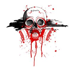 Trash style skull tattoo design