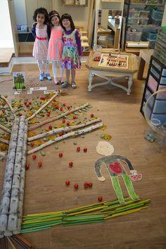 """Reggio Collaborative Art: branches, apples, leaves, paper, book """"The Giving Tree,"""" and more! (Via Reggio Kids)"""