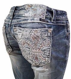 Miss Me Size 24, 27, 28, 29, Boot Cut Vintage Fleur De Lis Jeans JE8550BS $104. #MissMe #SignatureBootBootCut