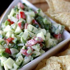 Crisp Cucumber Salsa -chips, place on top of chicken salad