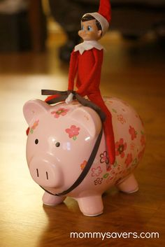Elf on the Shelf Ideas - Piggy Bank