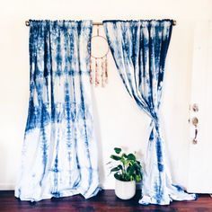 Indigo Shibori Curtains (set of two panels) *hand dyed *100% cotton *approximately 94 long x 56 wide  __________________________________  Each